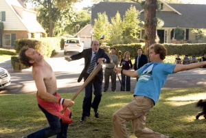 Brennan Huff (Will Ferrell, right) and Dale Doback (John C. Reilly, left) are two middle-aged, immature, overgrown boys forced to live together as stepbrothers when Dale's single father, Robert (Richard Jenkins, center) marries Brennan's mom in Columbia Pictures' Step Brothers. The film is directed by Adam McKay.  The screenplay is by Will Ferrell & Adam McKay from a story by Will Ferrell & Adam McKay & John C. Reilly.  The producers are Jimmy Miller and Judd Apatow.